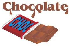 A barra de chocolate e os hos nomeiam ilustração stock