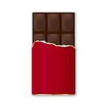Barra de chocolate en abrigo rojo con la hoja de oro Vector Fotografía de archivo libre de regalías