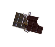 Barra de chocolate mordida Fotografia de Stock