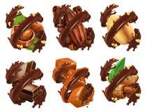 Barra de chocolate, nueces, caramelo, grano de cacao en chapoteo del chocolate vector 3d ilustración del vector