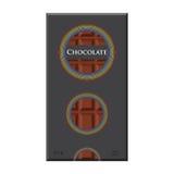 Barra de chocolate Pacote da etiqueta do cacau Produto leitoso doce Estilo liso ilustração do vetor