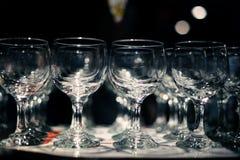 Barra de cristal de servicio de los cubiletes del restaurante Fotografía de archivo libre de regalías