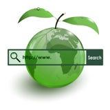 Barra de cristal de WWW del mapa de la tierra de la fruta de la manzana ilustración del vector