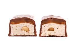 Barra de fatias de chocolate com enchimento. foto de stock royalty free
