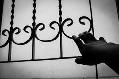 Barra de janela da posse da mão Foto de Stock