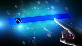 Barra de la búsqueda en la pantalla virtual Concepto de Internet y de la tecnología imágenes de archivo libres de regalías