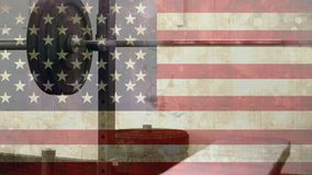 Barra de la bandera americana y del rizo metrajes