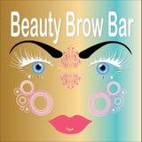 Barra de la frente de la belleza, cara con las cejas sin defectos Fotografía de archivo libre de regalías