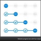 Barra de los progess del sitio web con cuatro pasos Fotografía de archivo