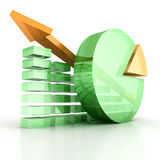 Barra de los succes y gráfico de sectores brillantes con la flecha creciente Imagen de archivo libre de regalías
