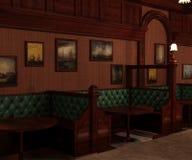 Barra de madeira velha do estilo interior e áreas acolchoadas privadas ilustração royalty free