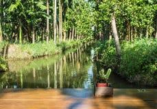 Barra de madera al lado del canal en jardín de la palma imagen de archivo