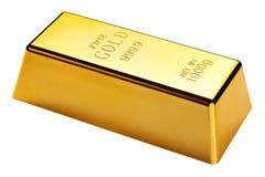 Barra de oro aislada con el camino de recortes Imágenes de archivo libres de regalías