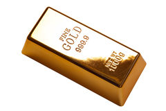 Barra de oro aislada con el camino de recortes fotografía de archivo libre de regalías
