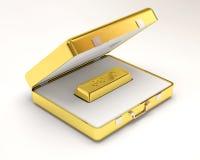 Barra de oro dentro de la caja del oro Foto de archivo