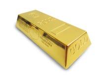 Barra de ouro isolada no fundo branco. fotografia de stock
