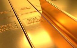 Barra de ouro, lingote em fundos do ouro Foto de Stock