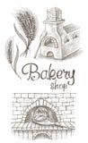 Barra de pan fresca y un horno stock de ilustración