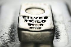 Barra de prata imagens de stock