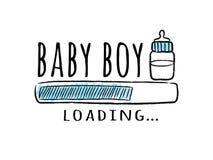 Barra de progreso con la inscripción - cargamento del bebé y botella de leche en estilo incompleto stock de ilustración