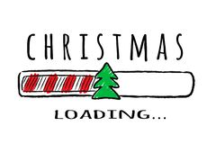 Barra de progreso con la inscripción - cargamento y abeto de la Navidad en estilo incompleto stock de ilustración