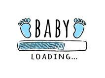 Barra de progreso con la inscripción - huellas del cargamento y del niño del bebé en estilo incompleto ilustración del vector
