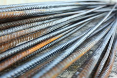 Barra de refuerzo de acero de la barra del Rebar en la construcción Fotografía de archivo