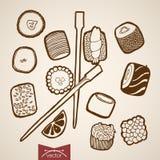 Barra de rolo tirada mão do sushi do vetor do vintage da gravura Fotos de Stock Royalty Free