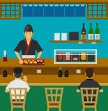 Barra de sushi, restaurante japonês Fotos de Stock Royalty Free