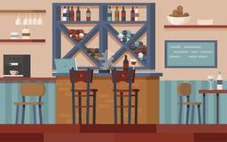 Barra de vinho com mesa da barra ilustração royalty free