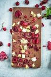 Barra del chocolate con leche con las bayas y las almendras secadas Fotografía de archivo