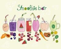 Barra del Smoothie, diverso gusto de la bebida, ilustración del vector