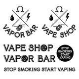 Barra del vapor y logotipo de la tienda de Vape Fotografía de archivo