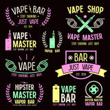 Barra del vapor y logotipo de la tienda de Vape ilustración del vector
