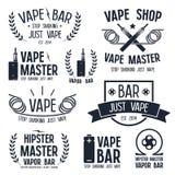 Barra del vapor y logotipo de la tienda de Vape foto de archivo