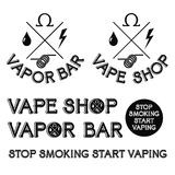 Barra del vapore e logo del negozio di Vape Fotografia Stock