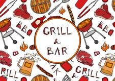 Barra della griglia Modello senza cuciture del partito della griglia del BBQ di estate Birra, bistecca, salsiccia, griglia del ba Immagine Stock