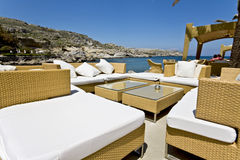 Barra della spiaggia all'isola della Rodi, Grecia Fotografie Stock