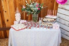Barra di Candy all'aperto per la celebrazione Party il tempo immagine stock libera da diritti