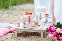 Barra di caramella del partito o di nozze, tavola decorata del dessert nel colore rosa con i dolci Stile elegante misero Immagini Stock Libere da Diritti