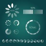 Barra di caricamento di progresso Insieme degli indicatori Progresso di download, web Fotografia Stock