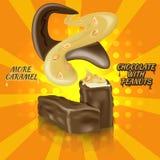Barra di cioccolato con il nougat, il caramello e le arachidi Fotografia Stock Libera da Diritti
