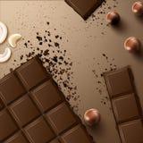 Barra di cioccolato con le noci illustrazione vettoriale