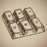 Barra di cioccolato dell'incisione Cioccolato delizioso e zuccherato con un cuore su ogni cellula Menu dell'incisione per il rist illustrazione vettoriale
