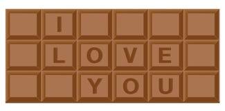 Barra di cioccolato per il biglietto di S. Valentino Immagine Stock