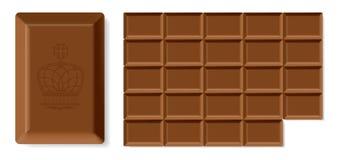 Barra di cioccolato realistica Fotografia Stock Libera da Diritti