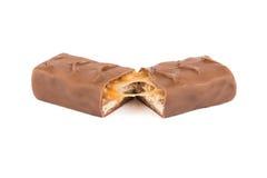 Barra di cioccolato rotta metà Immagini Stock Libere da Diritti