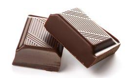 Barra di cioccolato su priorità bassa bianca Immagine Stock