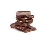 Barra di cioccolato su priorità bassa bianca Immagini Stock Libere da Diritti
