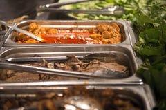 Barra di insalata e della carne Fotografie Stock Libere da Diritti